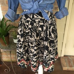 Anthropologie Odille Skirt Beaded Sz 8 Black Tan